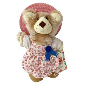 Vintage 1986 Furskins teddy bear blue ribbon girl